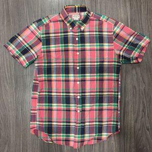 J Crew short sleeve summer plaid button down shirt